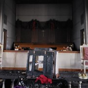 Advent candles spark church fire